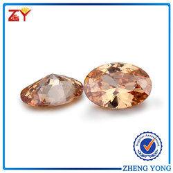 champagne CZ gems, shinning cubic zirconia, oval cut synthetic stone for fashion jewelry