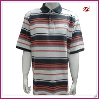 men short sleeve collar t-shirt,yarn dyed stripe t-shirt for men