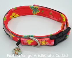 Wholesale beautiful adjustable dog collar whith metal hang tag