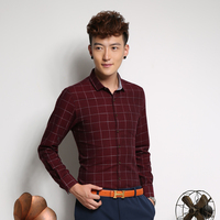 OEM Custom Cotton long sleeve plaid print slim fit brand name men dress shirts