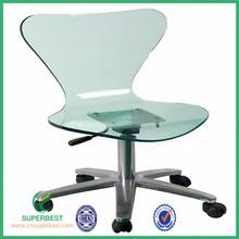 Acrylic desk chair with wheels