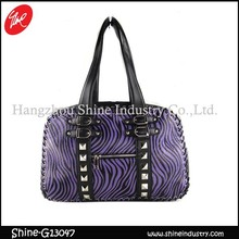 2015 latest design rivet zebra-stripe purple handbag