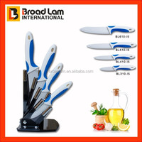 Vogue Double Injection ABS+TPR Coating Ceramic Knife set 4pcs in Acrylic Block