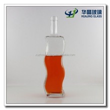 750ml bulk curved side glass liquor bottle with stopper wholesale
