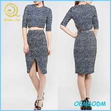 Fashionable designs women wear a set of top with pencil skirts ladies tweed skirt suits