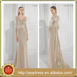 AED-28 Elegant Floor-Length Long Evening Dresses 2015 Latest Champagne V-Neck Formal Long Sleeve Gowns