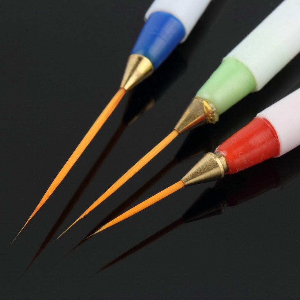 3pcs Nail Art Design Diy Drawing Painting Striping Nail Gel Pen Nail ...