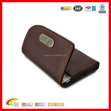 PU Leather Litchi Pattern Cover Business Credit Card Holder Case 2 Colors (Brown)