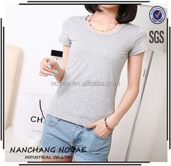 Spring and summer new blank solid color cotton short sleeve T-shirt ladies garments name