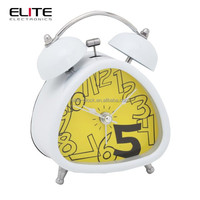 "3"" triangle double bell silent quartz ce travel alarm clocks"