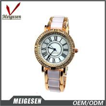 Fashionable 2 tone good quality brand gems & stone ladies gift watch