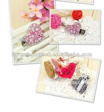 crystal heart shape jewelry usb flash drive promotional