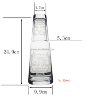 Leadfree crystal high quality customized popular model drinking water wine pitcher jar with shot glass frosted decal