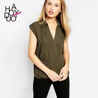 2015 Summer Women Deep V Chiffon T-shirts Short Sleeve Turn Down Collar Casual Tops for Wholesale Haoduoyi