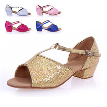 Children's Latin dance shoes girls flat soft bottom shiny gold Silver Latin dance shoes