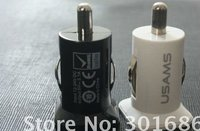 Double USB car charger for P1000 ipad2 white and black colors 200pcs/lot