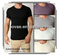 Mens Round Neck Tshirts Slim Fit Tees Fashion Casual Plain Blank Basics