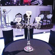 Silver Crystal wedding candelabra Centerpiece for table decoration