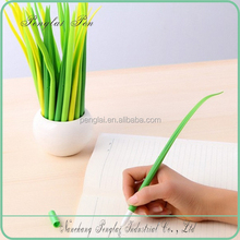 2015 silicone grass leaf pen shaped ball point pen in pot