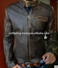 High Quality Exquisite Leather Jacket Distressed Brown Cafe Racer Motorcycle L BRAND NEW