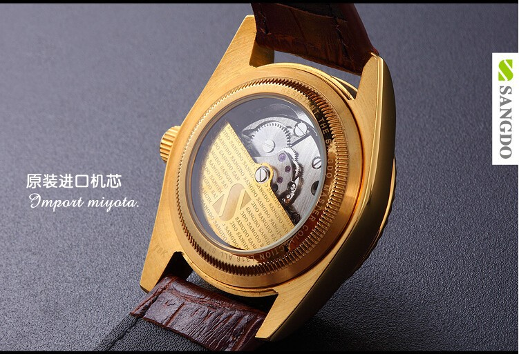 38 ММ SANGDO мужские часы Сапфир зеркало Золотое покрытие 0267C Автоматический Self-ветер движение 2016 новая мода