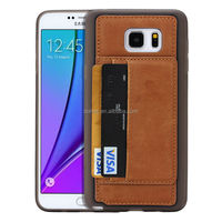 Fast Delivery Soft TPU Case&Leather Card Slot Case For Samsung Note 5