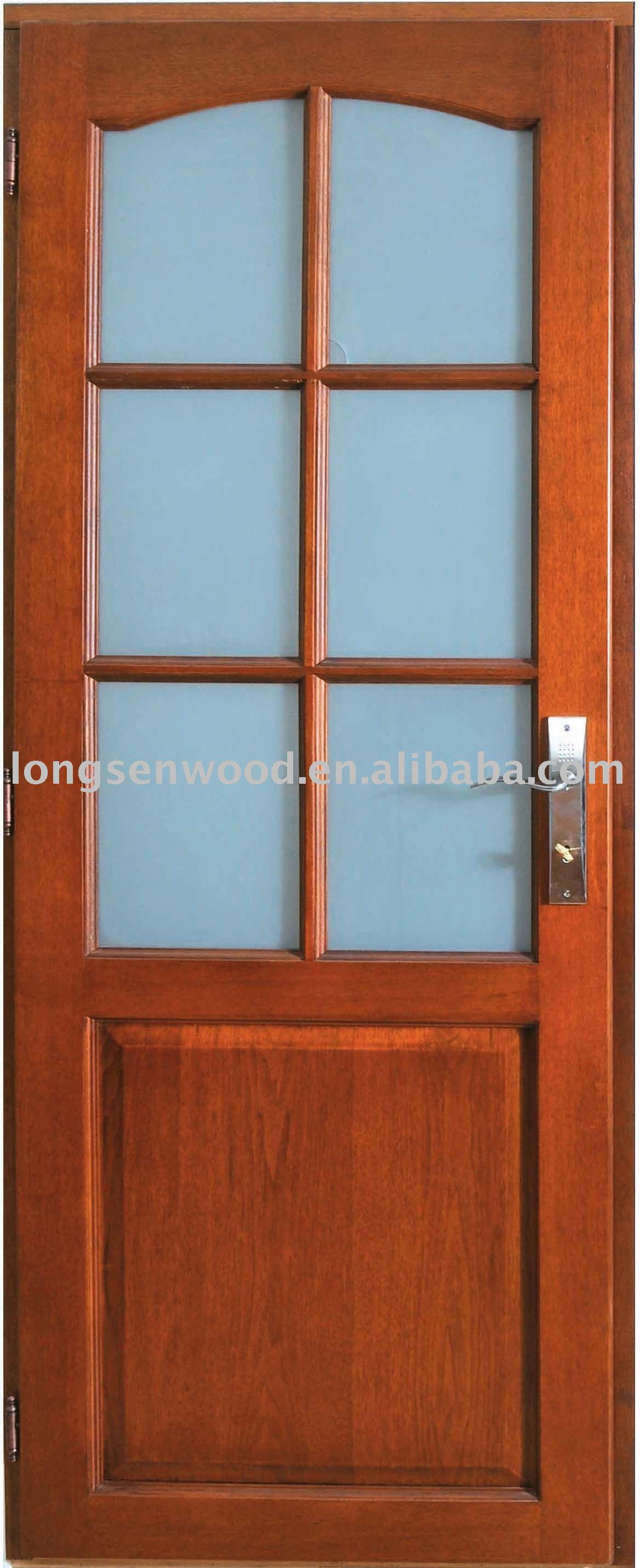 Cristal de la puerta marco de madera puertas for Puertas de entrada madera y cristal