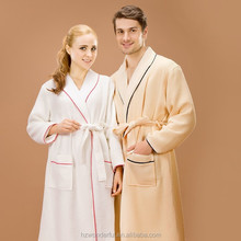 cheap bathrobes beige double layer waffle wave robes with 100%cotton lining and plus size bathrobe for sexy men