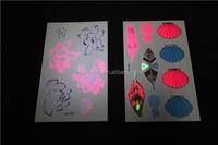 Custom temporary glow in the dark fluorescent/luminous tattoo