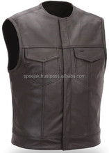 Front Flap Pockets Genuine Black Leather Mens vests