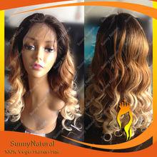 20inch Wavy Hair Fashion Women Wig Ombre Brazilian Hair Lace Front Wig