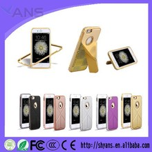 New Design Fashion Luxury Bling Stand Leather Case For Iphone 5S With Aluminum Frame