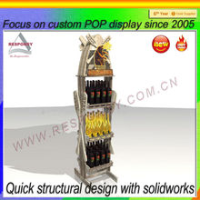 custom POP shopping mall supermarket retail store floor wood dressed wine shelf display