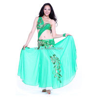 New Style Dance Outfit Green Belly Dance Gypsy Skirt