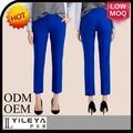 azul real de seda para mujer pantalones de traje para las mujeres de negocios