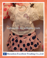 Summer Hot Style Baby Girl Suit with Pattern and Round Dot