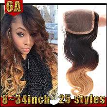 Silk And Soft Brazilian Hair Lace Clsoure 100% Human Three Color Ombre Closure