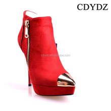 CDYDZ M1531A-K2014A European and American double sided zipper marry matte red high-heeled pointed boots 2015 new fashion sexy
