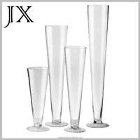 customized decorative single long neck slanted swirl clear glass table top vase