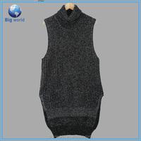 fashion turtleneck knitting ladies sweater,sleeveless sweater angora,women knitted vest sweater OEM services