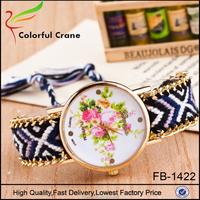 Fashion girl latest hand watch color cotton rope bracelet watch
