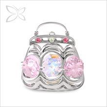 Customized Sweetness Sliver Plated Crystals Purse For Home Decor