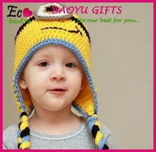 Hot sale baby hats despicable me yellow cartoon baby hats mini baby knitted hats