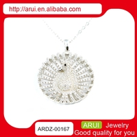 925 sterling silver statement necklace jewellery peacock pendant