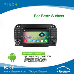Best Price 2 din A9 dual core7 inch Android 4.4 Car DVD player for Benz S class/CL-W215 with Capacitive Screen