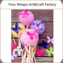 2015 New Fashion Wholesale Birthday Party Fairy Wand Pom Pom Butterfly Wand