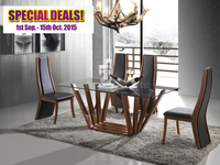 Hot sale Luxury and modern dining room table sets table with wooden legs walnut