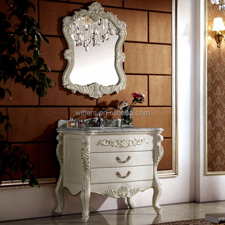Shabby chic feuille d 39 or salle de bains meubles style victorien console vanity collection pour - Meuble style shabby ...