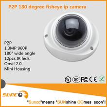 Venta al por mayor P2P panorámica fisheye hd IP cctv cámara 1.3MP 180 degree gran angular