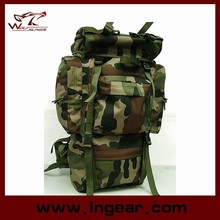 Woodland Camo Large Capacity 65L Combat Camping Backpack For Hiking Or Military Bag